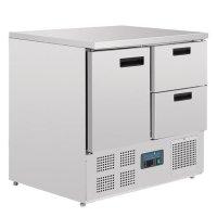 Polar Arbeitstisch mit Kühlschrank, Edelstahl, 1...