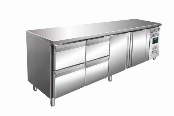 Kühltisch inkl. 2 x 2er Schubladenset Modell KYLJA 4140 TN, Maße: B 2230 x T 700 x H 890-950
